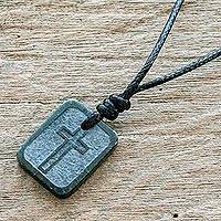 Jade cross necklace, 'Faith and Love' - Etched Cross on Jade Pendant Artisan Crafted Necklace