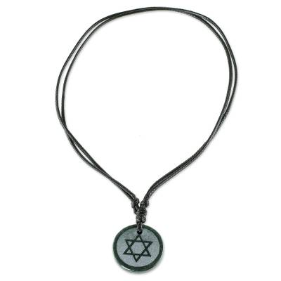 Jade Star of David Pendant on Black Leather Cord Necklace