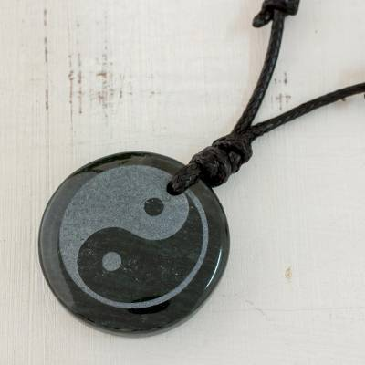 Jade cross necklace, 'Yin Yang' - Jade on Black Leather Necklace Crafted by Hand