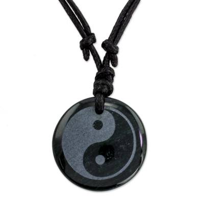 Jade Yin Yang on Black Cotton Necklace Crafted by Hand