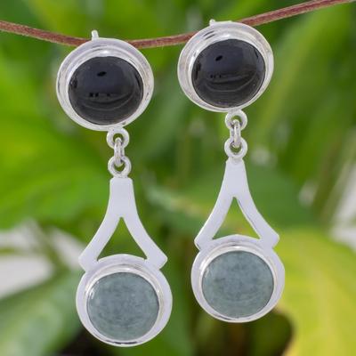 Jade dangle earrings, 'Maya Twin Moons' - Silver Dangle Earrings with Green and Black Maya Jade