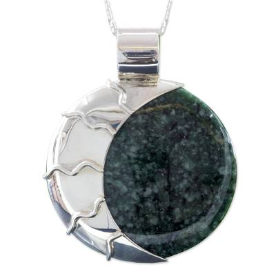 Jade pendant necklace, 'Green Place of the Moon' - Light and Dark Green Jade Reversible Silver Pendant Necklace