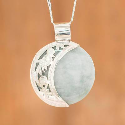 Reversible jade pendant necklace, Quetzal Lord Eclipse