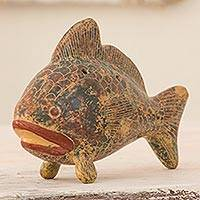 Ceramic ocarina, 'Blue Red Beige Fish' - Handcrafted Fish Shaped Musical Wind Instrument Weathered Ha