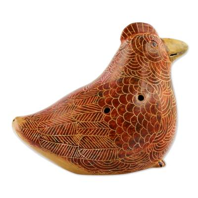 Ceramic ocarina, 'Red Brown Mamma Hen' - Artisan Crafted Ceramic Ocarina Hen Shaped Flute