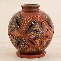 Ceramic candleholder, 'Red Floral Light' - Artisan Crafted Tealight Red Terracotta Candleholder