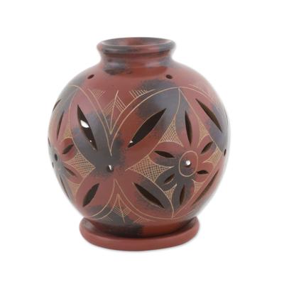 Artisan Crafted Tealight Red Terracotta Candleholder
