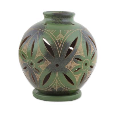 Ceramic Green Tealight Candleholder from Nicaragua