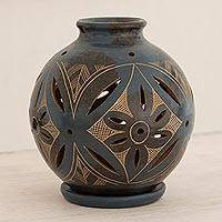 Ceramic candleholder, 'Blue Floral Light' - Artisan Crafted Tealight Terracotta Candleholder in Blue