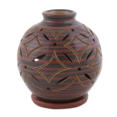 Ceramic Candleholder in Red Handcrafted of Terracotta