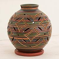 Ceramic candleholder, 'Luminous Multicolor Petals' - Ceramic Candleholder Handcrafted of Terracotta