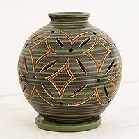 Ceramic candleholder, 'Luminous Green Petals' - Green Ceramic Candleholder Handcrafted of Terracotta