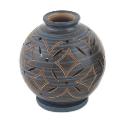 Blue Ceramic Candleholder Handcrafted of Terracotta