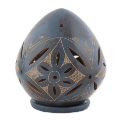 Blue Ceramic Artisan Crafted Tealight Candleholder