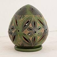 Ceramic candleholder, 'Green Floral Egg' - Handcrafted Green Terracotta Tealight Holder