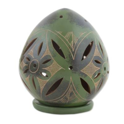 Handcrafted Green Terracotta Tealight Holder