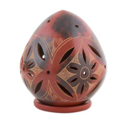 Red Ceramic Floral Candleholder from Nicaragua