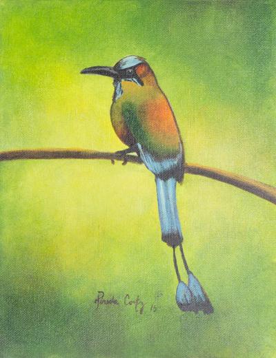 el salvador signed original bird painting torogoz novica