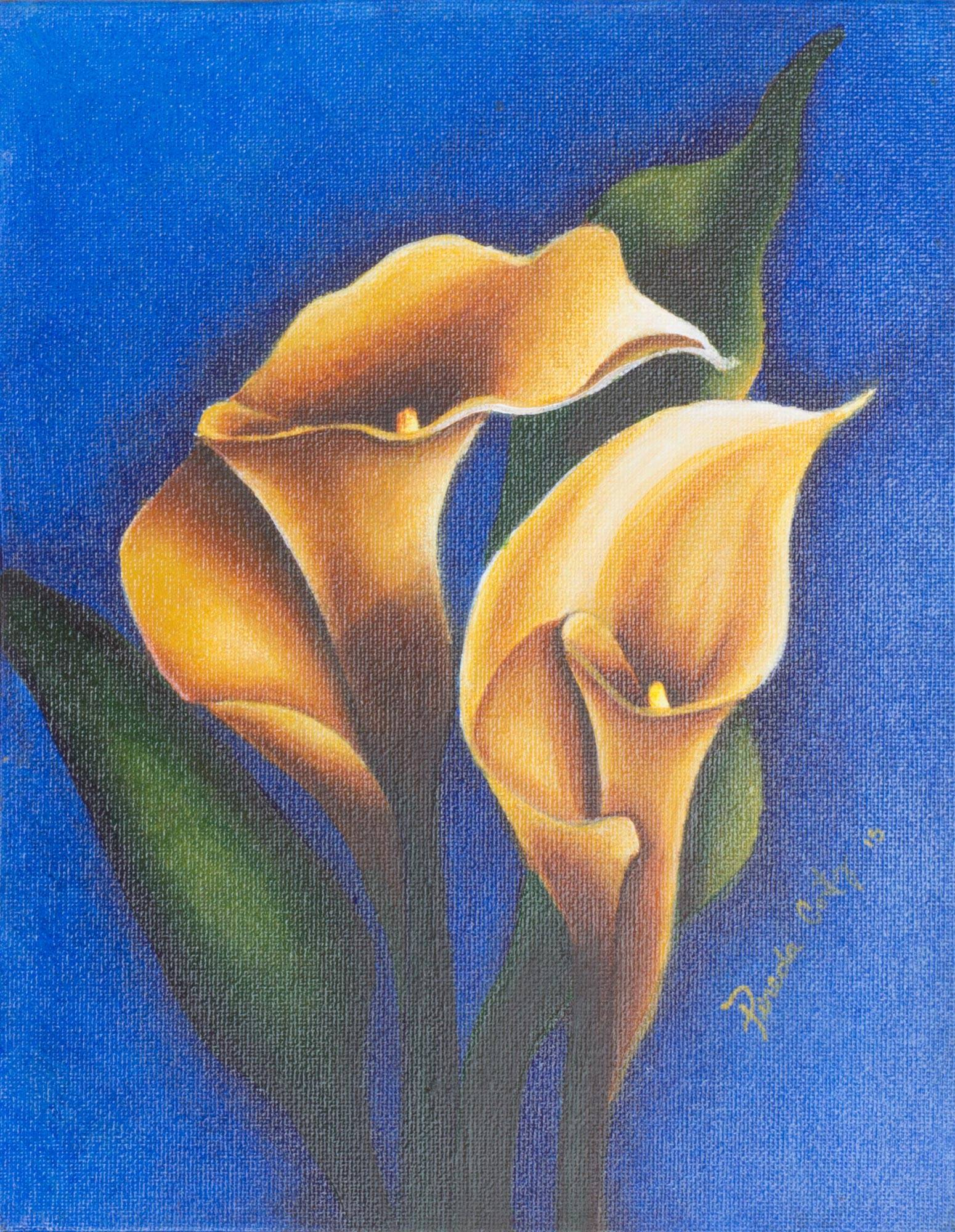 Original signed flower painting from el salvador calla lilies on original signed flower painting from el salvador calla lilies on blue novica izmirmasajfo