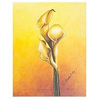 'Calla Lilies on Yellow' - Signed Realistic Calla Lily Painting in Yellows