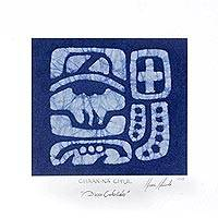 Cotton batik wall art, 'Indigo Chaan-na ch'ul' - Wall Art of Celestial Maya Lords Glyph in Batik over Cotton