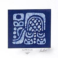 Cotton batik wall art, 'Indigo Aj-pa-ya-la' - Batik Maya Leader Glyph on Indigo Blue Cotton Wall Art