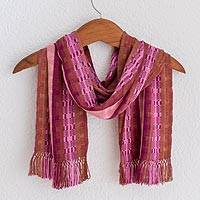 Rayon chenille scarf, 'Pomegranate Passion' - Hand Woven Rayon Chenille Scarf Woven in Red Purple and Pink