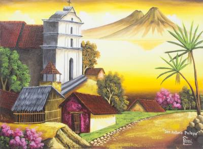 'San Antonio Palopo II' - Signed Oil on Canvas Lake Atitlan Landscape Painting