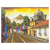 'Antigua Guatemala I' - Guatemala Town Painting in Oil on Canvas