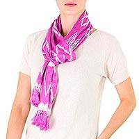 Cotton scarf, 'Solola Orchids' - Light Fuchsia Backstrap Loom Cotton Scarf from Guatemala