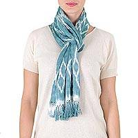 Cotton scarf, 'Solola Aqua' - Backstrap Loom Aqua Blue Cotton Scarf with Organic Dyes
