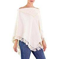 Cotton poncho, 'Apaneca Geometry' - Ivory Color Cotton Patterned Poncho Woven by Hand