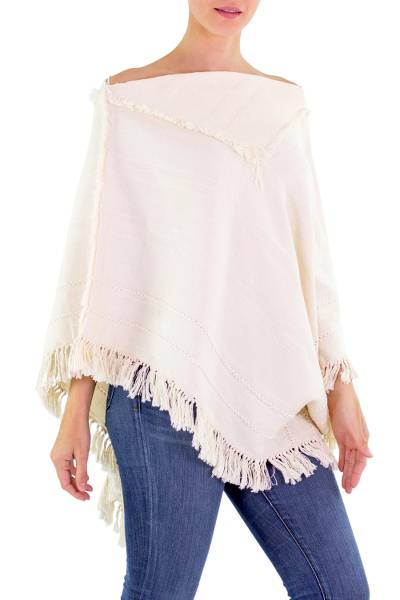 Ivory Color Cotton Patterned Poncho Woven by Hand