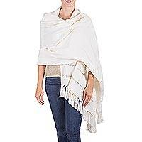 Cotton shawl, 'Apaneca Geometry' - Ivory Color Cotton Shawl Hand Woven Wrap with Openwork