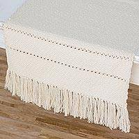 Cotton table runner, 'Ivory Diamonds' - Patterned Ivory Color Table Runner in Hand Woven Cotton