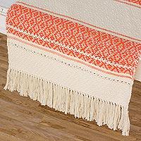 Cotton table runner, 'Sunset Diamonds' - Hand Woven Ivory and Dark Orange Cotton Table Runner