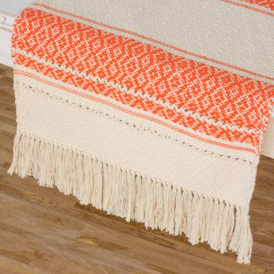 Cotton table runner, 'Sunset Diamonds' - Hand Woven Ivory and Dark Orange Cotton Table Runner