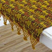 Cotton table runner, 'Tactic Yellow' - Guatemalan Hand Woven Table Runner in Yellows and Browns