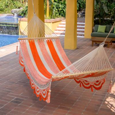 Cotton hammock, 'Sweet Orange' (single) - Nicaragua Orange Ivory Handcrafted Cotton Hammock (Single)