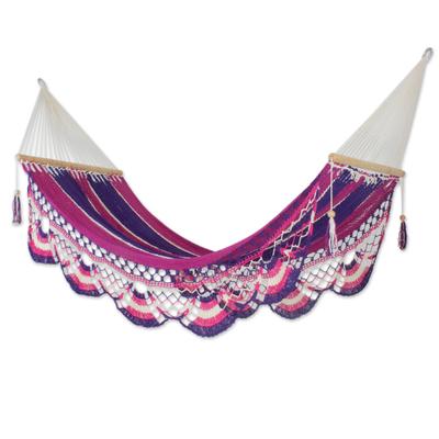Cotton hammock, 'Cactus Fruit' (single) - Nicaragua Handmade Cotton Single Hammock (Single)