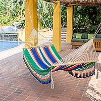Cotton hammock, 'Quiet Evening' (single) - Fair Trade Multi coloured Striped String Single Artisan Hamm