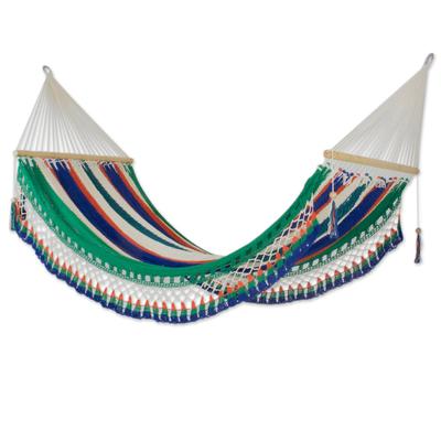 Cotton hammock, 'Quiet Evening' (single) - Fair Trade Multi coloured Striped String Single Artisan Hamm