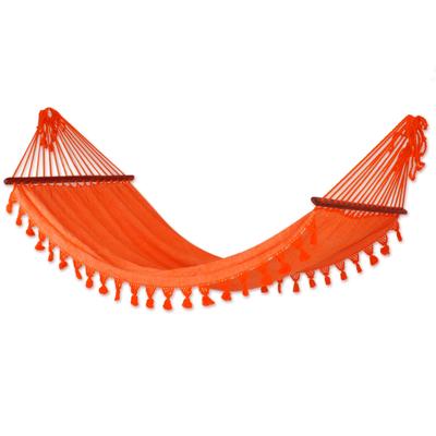 Guatemala Orange Cotton Handwoven Hammock (Single)