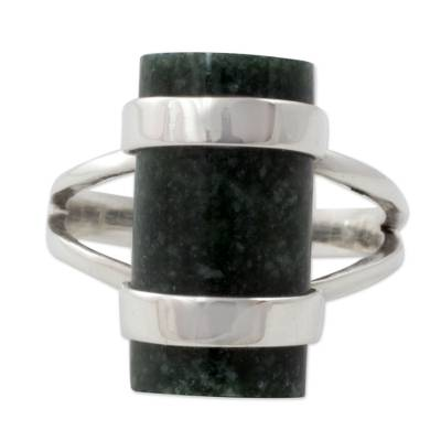Jade cocktail ring, 'Sweet Maya' - Artisan Crafted Sterling Silver and Jade Cocktail Ring