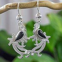Jade dangle earrings, 'Black Quetzal Myth' - Sterling Silver Bird Earrings with Black Jade Wing