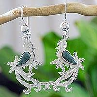 Jade dangle earrings, 'Light Green Quetzal Myth' - Sterling Silver Bird Earrings with Light Green Jade Wing