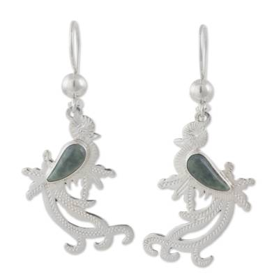 Sterling Silver Bird Earrings with Light Green Jade Wing