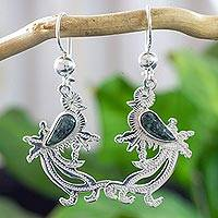 Jade dangle earrings, 'Dark Green Quetzal Myth' - Sterling Silver Earrings of Quetzal Bird with Jade Wings