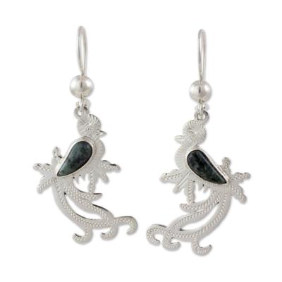 Sterling Silver Earrings of Quetzal Bird with Jade Wings