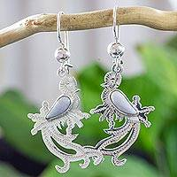 Jade dangle earrings, 'Lilac Quetzal Myth' - Sterling Silver and Lilac Jade Earrings of a Quetzal Bird